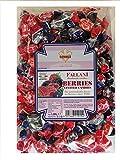 FALLANI CANDIES caramelos duros con bayas, bolsa de dulces de 1Kg sabores surtidos de arándanos, moras, frambuesas, fresas silvestres, producción italiana, sin gluten, dulces artesanales
