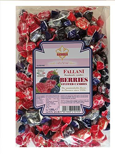 FALLANI SÜSSIGKEITEN Bonbons mit Beeren, 1 kg Bonbontüte mit verschiedenen Geschmacksrichtungen: Heidelbeere, Brombeere, Himbeere, Walderdbeere, italienische Produktion, glutenfreie Bio-Bonbons