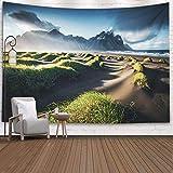 Tapisserie murale à suspendre, Tapisseries Deacutecor Salon par Imprimé pour une vue unique sur les collines vertes avec des dunes de sable Lieu Batman Mount Iceland Europe Image panoramique de, Rose