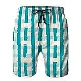 jiilwkie Performance Boardshorts Shorts Casuales para Hombre, línea pictórica aislada, patrón sin Costuras M