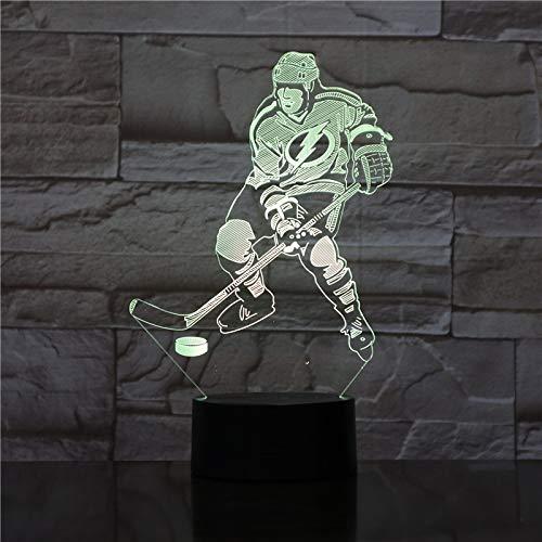 3D Nachtlicht Illusion Lampe Led Playing Ice Hockey Deko Licht Stimmungslicht Nachttischlampe 16Farben Ändern Touch Switch Schreibtisch Lampen Geburtstagsgeschenk Weihnachten
