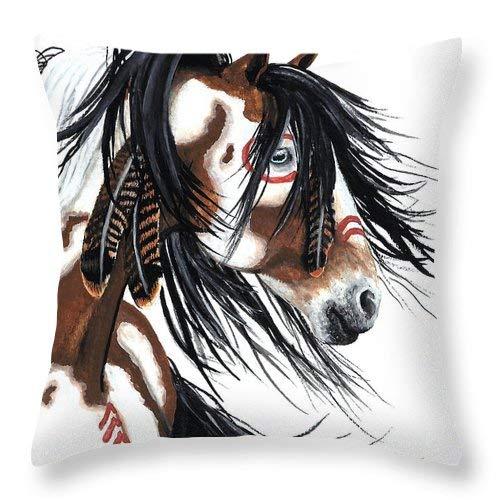 Lplpol Majestic - Funda de cojín cuadrada de lino y algodón, diseño de caballo pinto, 45,7 x 45,7 cm