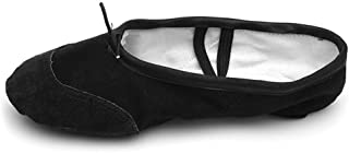 HROYL Ballet Dance Shoes Canvas&Leather fits from Child to Adult Model-PT-BT
