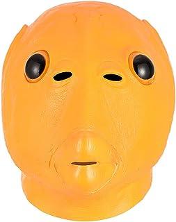 Masques De Déguisement pour Adultes Masque Halloween Tête Poisson Vert Couvre-Chef Monstre Sirène À Tête Verte,Parodie Drô...