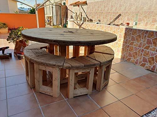 Conjunto mesa redonda 160 cm. con 10 taburetes