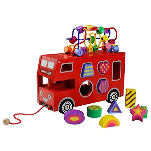 Autobús de Madera, Autobús de Juguete Tracción Coche Niños Rojo Camion Recuerdos De Madera Niños 3 4 5 6