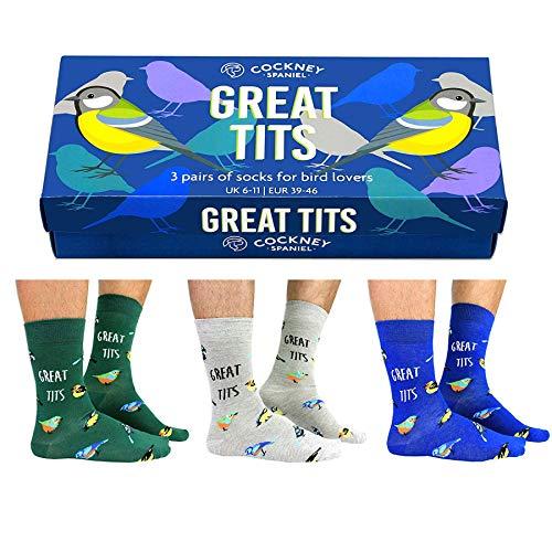 United Oddsocks Kohlmeise - Great Tits Socken mit Geschenkverpackung in 39-46 (3 Paar) - Strumpf