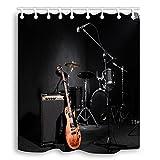 YundM HOME Musik Dusche Gardinen Set, Musikinstrumente Gitarre mit Trommel in Schwarz Wasserdicht Stoff Vorhang für die Dusche, 177,8x 177,8cm