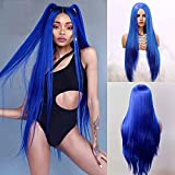 EEWIGS Blue Long Straight Synthetic Middle Part None Lace Wigs Natural Looking full machine made wig Heat Resistant Fiber Hair for Women (blue)
