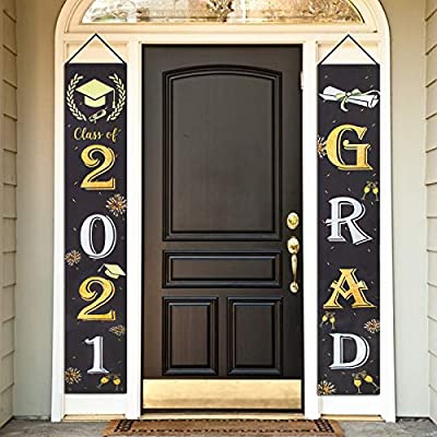 Graduation Banner 2021-70 x 12 Inch, Class of 2021 Banner Graduation Porch Sign Grad Party Supplies Decorations - Hanging Yard Sign Flags - Graduation Decorations Black and Gold