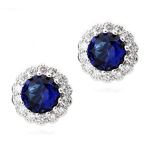 Redondo Pendientes con Zafiro simulado azul Cristales austríacos de Zirconia 18k Chapado en oro para mujer y niña
