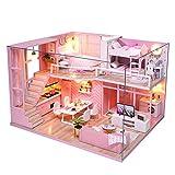 CUTEBEE Dollhouse Miniature with Furniture, DIY Dollhouse Kit Plus Dust Proof...