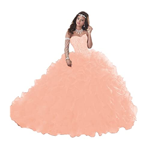03107534e0a XSWPL Gorgeous Heavy Beaded Organza Quinceanera Dresses for Sweet 16 Ball  Gowns