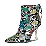 Women's Pointed Toe Ankle Boot Wide Calf Snake Print Fashion Booties Crystal Clear High Heels Boots Side Zipper Winter Shoes (color snake, numeric_10)