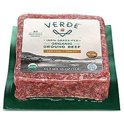 Verde Farms Organic 100% Grass-Fed Ground Beef 80/20, 1 lb