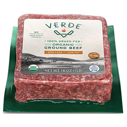 Verde Farms Organic 100% Grass-Fed Ground Beef 80/20, 1 lb