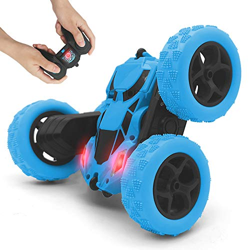 Remote Control car, 2.4GHz Race Stunt Car, Double Sided 360° Rolling Rotating Rotation, LED Headlights RC 4WD Off Road Monster Truck Flipping Kids Toy Cars for Boys & Girls Christmas Birthday (Blue)