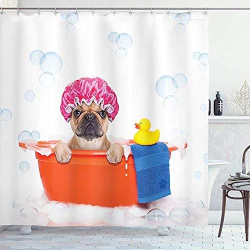ASDAH hond liefhebber douchegordijn hond het hebben van een bad in een bad met rubber eend schoonmaken thema op bubbels achtergrond doek stof badkamer Decor Set met haken oranje roze 66 * 72in