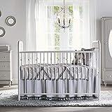 leegleri Crib Bed Skirt Pleated Ruffle with Tassel Nursery Crib Bedding Skirts for Baby Boys or Girls, 15' Drop/Grey