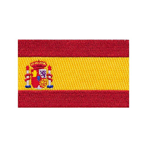 30 x 20 mm Spanien Flagge Spain Flag Barcelona Patch Aufnäher Aufbügler 0678 Mini