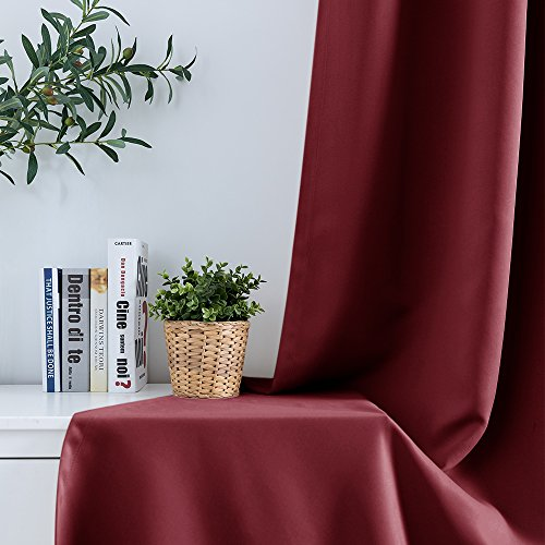 Burgundy Blackout Window Curtains for Living Room Bedroom Curtain Room Drakening Light Blocking Drapery Grommets Top 1 Pair 84 inches