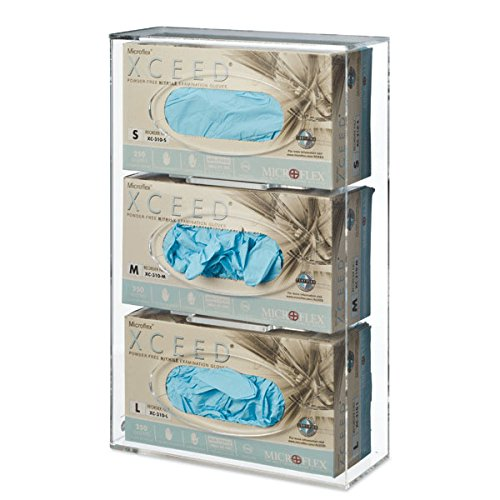 CeilBlue Triple Side-Loading Glove Box Dispenser Holder, Clear Acrylic