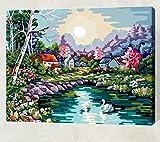 Con marco Pintura Digital Por Números Cisne Lago Cabina Pintura Pintura Abstracta Moderna De La Lona Del Arte De La Pared Para El Hogar 40x50cm