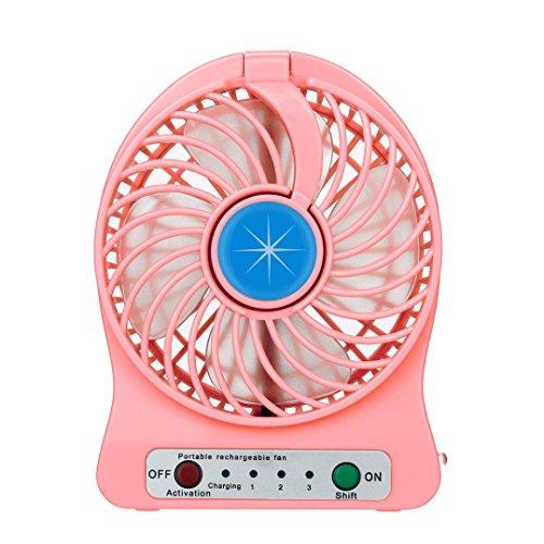 SUCES Tragbare wiederaufladbare LED-Licht Fan Luftkühler Mini Schreibtisch USB Fan Tischventilator Fan PC Notebook für den Schreibtisch Kinderwagen Rollstuhl Schlafzimmer Camping (Pink)