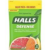 Halls Defense Citrus Vitamin C Drops - 180 Drops 180 Count (Pack of 1)