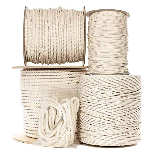Natural Twisted Cotton Rope 3/8 Inch - Biodegradable Cord with No Bleach or Dyes - Low Stretch Line in High Strength Capacity - Arts, Crafts, Indoor/Outdoor DIY Projects, Commercial Uses (100 Feet)