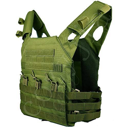 COZYJIA Taktische Weste, JPC Airsoft Weste Military Armee MOLLE Weste für Outdoor Jagd Angeln Wandern Airsoft Krieg Spiel (grün)