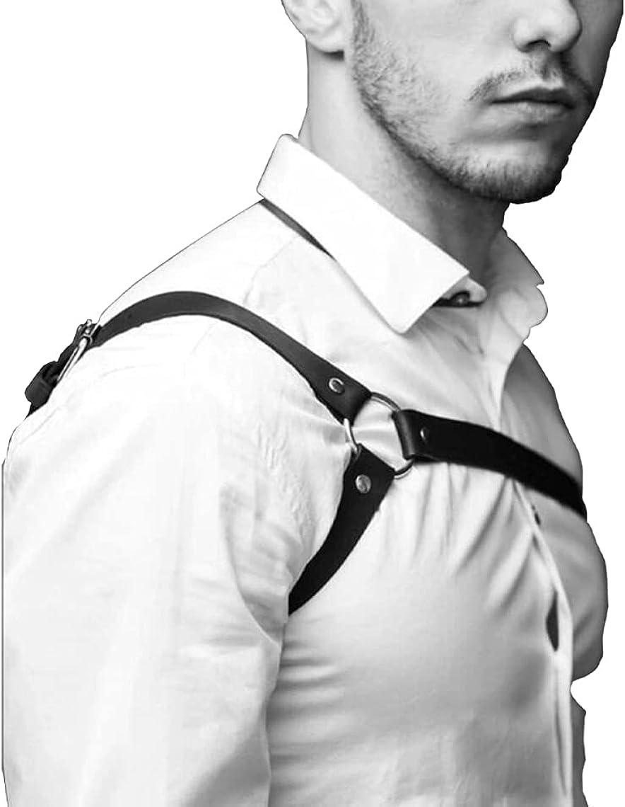 Sexy Mens Genuine Leather Gothic GLADIATOR Chest Body Harness Adjustable Bulldog Black Suspenders