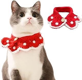 CACAZI Cat Collar Bib Knitted Wool Warm Breathable Handmade Adjustable Kitten Bandana for Christmas Lightweight Cute