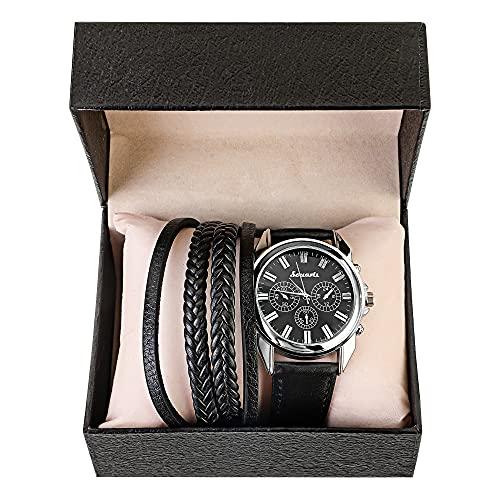 MJARTORIA Set de regalo para hombre con reloj de pulsera de piel sintética, monedero para coche, gafas de sol, cinturón, caja de regalo, regalo de San Valentín, Navidad, día del padre (negro-C)