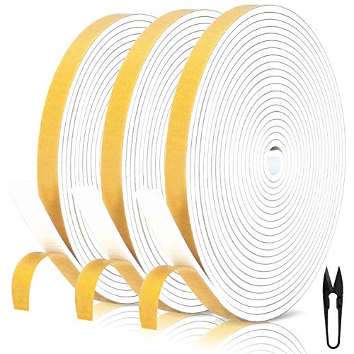 Dichtungsband für Türen 12mm(B) x 3mm(D) selbstklebendes Schaumstoffband Türdichtung Fenste, Gummidichtung für Kollision Siegel Schalldämmung Gesamtlänge 18m (3 Rollen je 6m lang) Weiß