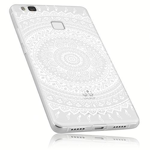 mumbi Hülle kompatibel mit Huawei P9 Lite Handy Case Handyhülle dünn mit Motiv Mandala Weiss, transparent