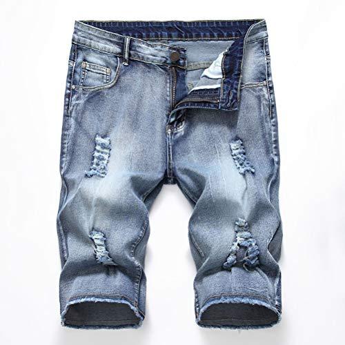 Whittie Denim Hole Shorts Slim Fit Arbeit Short Stretch Kanten Shorts Hellblaue Jeans Hose Herren Jersey Short mit Taschen,Jeans6,30