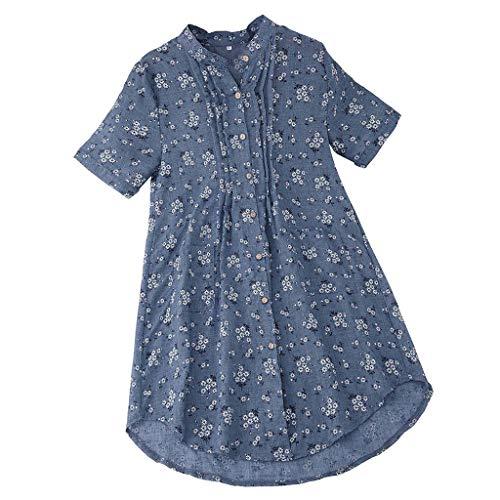 T Shirt Donna Camicetta con Bottoni Blusa Manica a 3/4 con Stampa Gatto Irregolare Vintage Maglietta Elegante Tunica Donna (XL,3- Cielo Blu)