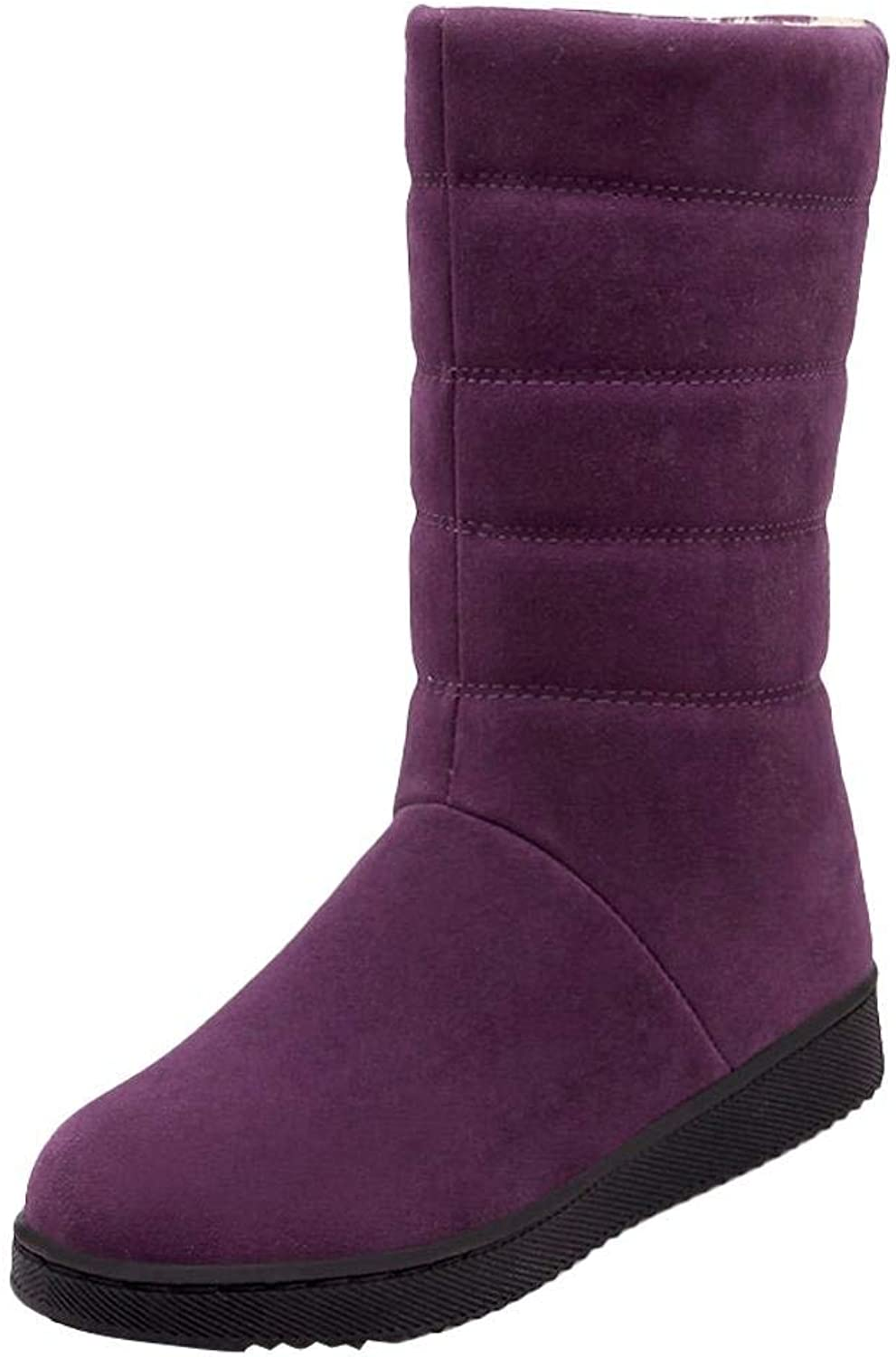 Ghssheh Women's Warm Winter Velvet Lining Flat Mid Calf Snow Boots Wine Red 4.5 M US