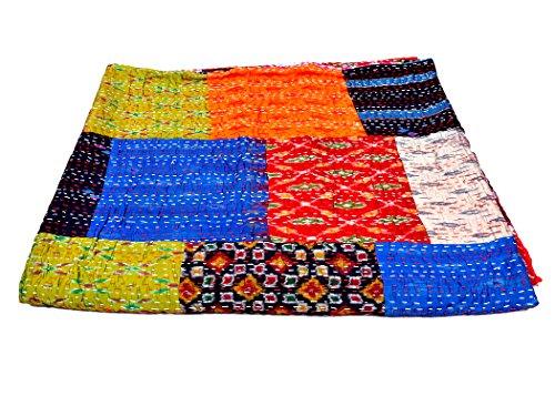 Rawyal Queen-Size Sari réversible Kantha Couvre-lit en Patchwork-Dessus-de-lit Motif Indian Sari en Papier recyclé, Vintage Craft Kantha Couvre-lit Fait Main Gudri Couvre Indien-Lits