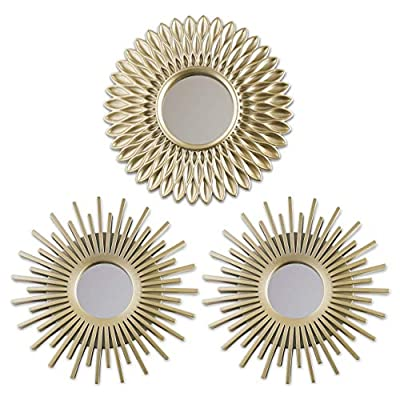 ⭐ IDEALES PARA COLGAR EN PARED ⭐ Cada uno de los tres espejos dorados tienen un pequeño cáncamo para que puedan ser colgados en una pared. Son resistentes ya que la parte exterior es de plástico y amortigua mejor la parte interior de cristal ⭐ PACK D...