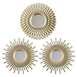 Gold Mirrors for Wall Pack of 3 – BONNYCO | Wall Mirrors for Room Decor & Home Decor | Champagne Gold Round Mirrors for Wall Decor | Circle Mirrors Modern Gifts for Women & Moms | Decorative Mirrors…