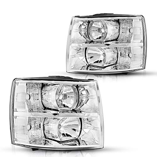 Torchbeam Replacement Headlight Assembly for 2012 Silverado Headlight Compatible with 2007-2014 Silverado 1500/2500 Chrome Housing clear Reflector Driver and Passenger Side