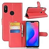 Lapinette Funda de Piel Compatible con Xiaomi Mi A2 Lite (Redmi 6 Pro) - Carcasa con Tapa Libro Tipo Folio - Funda de Piel Sintética Xiaomi Mi A2 Lite Tapa y Cartera - Cierre Magnético Rojo