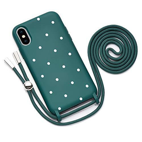QULT Funda con Cuerda Compatible con iPhone XS, iPhone X Carcasa de movil con Colgante Cadena Suave Silicona Necklace Bumper Case Verde Oscuro Motivo Puntos Blancos