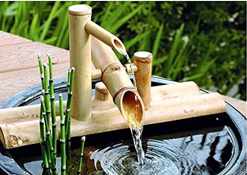 Garten Bambus Wasserspiel Wasserspiel Auslauf mit Pumpe Gartendekoration Wasserfall Outdoor Japanisches Garten Feature für Teich Terrasse Balkon, 50cm