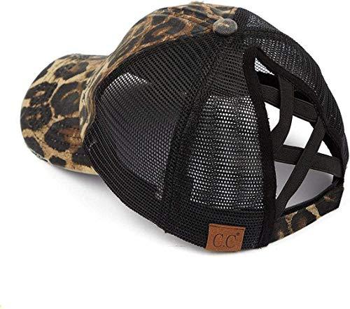 DIF Hat Damen Baseball Cap Dad Hat Pferdeschwanz Messy, 1 Criss Cross - EIN Leopardenmuster mit schwarzem Netz,1 Criss Cross - A Leopard Print W/Black Mesh