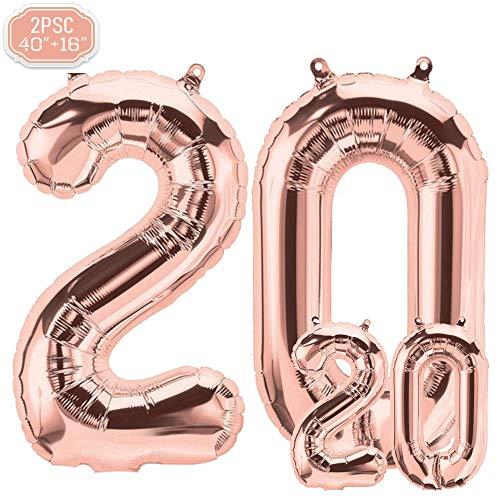 """FUNXGO Folienballon Zahl in Rose Gold 2 Stück - 40\""""/100cm +16\""""/40cm - Folienballons für Helium und Luft als Geburtstag, Hochzeit , Jubiläum oder Abschluss Geschenk , Party Dekoration (Rosegold[20])"""