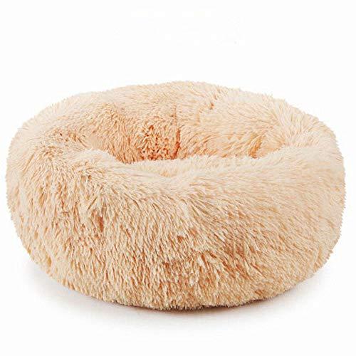 Plush Donut Pet Bed,Dog Cat Round Warm Cuddler Kennel Soft Puppy Sofa,Luxury Cat Cushion Bed Sleeping Bag Orthopedic Relief and Improved Sleep,Anti-Slip Bottom,Machine Washable (M-19.7