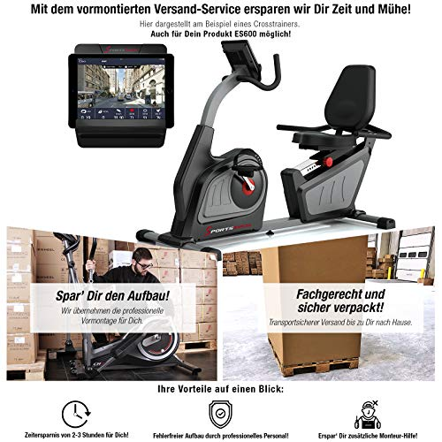 Sportstech ES600 Profi Ergometer - Deutsche Qualitätsmarke -Video Events & Multiplayer APP & integriertemStromgenerator, Pulsgurt optional, HRC + ergonomischem Sitzkomfort, Liegeergometer Heimtrainer